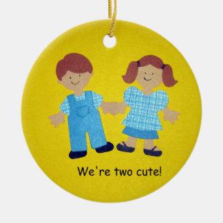 We're two cute! ceramic ornament