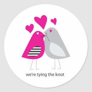 were tying the knot classic round sticker