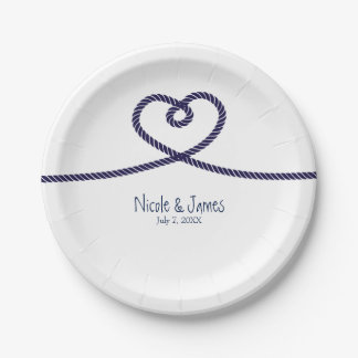 We're tying the knot nautical heart beach Wedding Paper Plate
