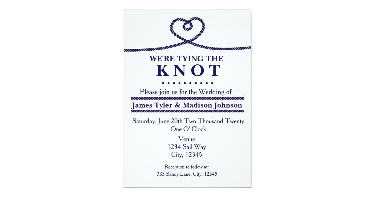 The Knot Addressing Wedding Invitations: WE'RE TYING THE KNOT Nautical Wedding Invitations
