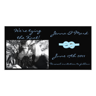 we're tying the knot photo greeting card