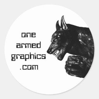 werewolf06, onearmedgraphics.com classic round sticker