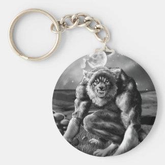 werewolf basic round button keychain