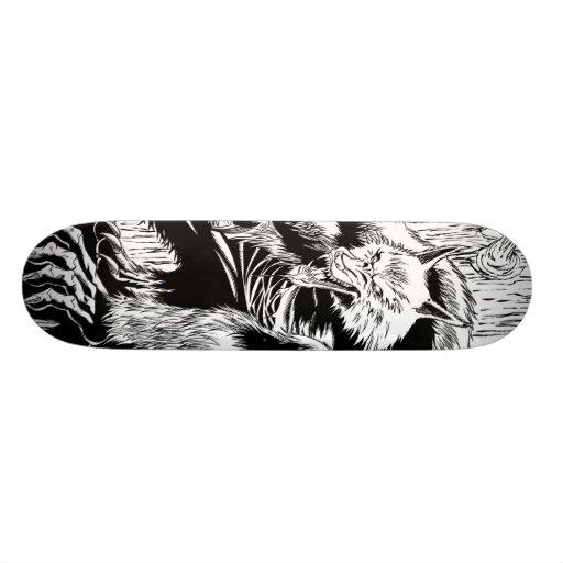 Werewolf black and white skateboard