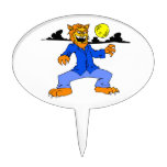 Werewolf blue suit moon cloud cake pick