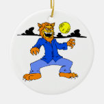 Werewolf blue suit moon cloud christmas tree ornament