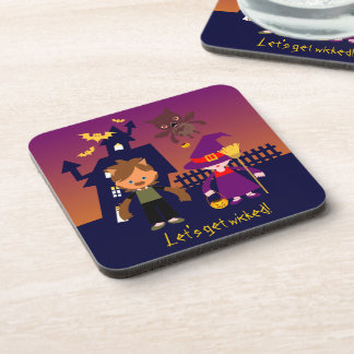Werewolf goes out on Halloween night Beverage Coaster