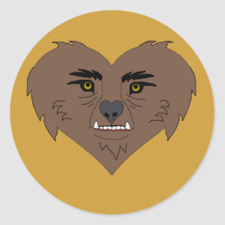 Werewolf Heart Face Classic Round Sticker