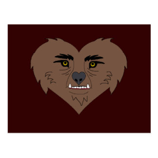 Werewolf Heart Face Postcard