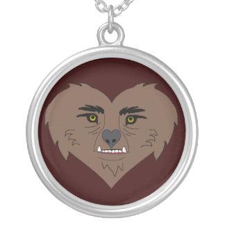 Werewolf Heart Face Round Pendant Necklace