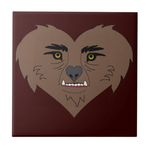 Werewolf Heart Face Small Square Tile