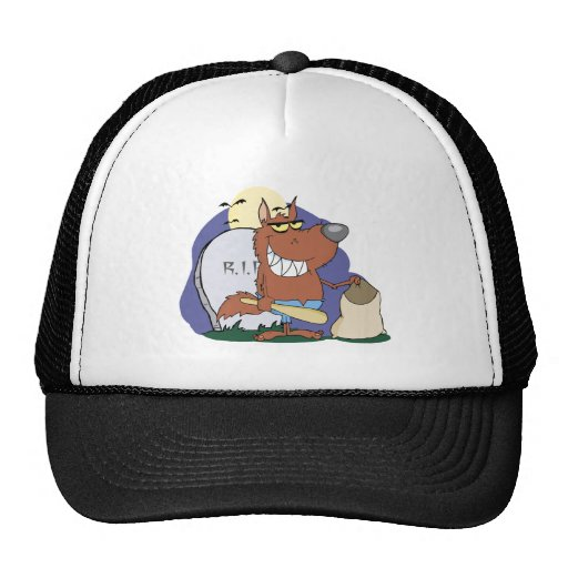 Werewolf Holding Club And Bag A Full Moon Trucker Hats
