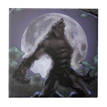 Halloween Themed Werewolf Howling At The Moon Tile