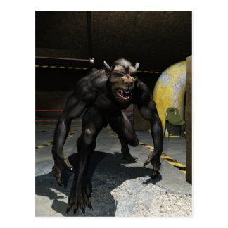 Werewolf in sewer postcard