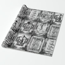 Werewolf Manuscript Wrapping Paper black/white