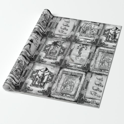 Werewolf Manuscript Wrapping Paper blackwhite