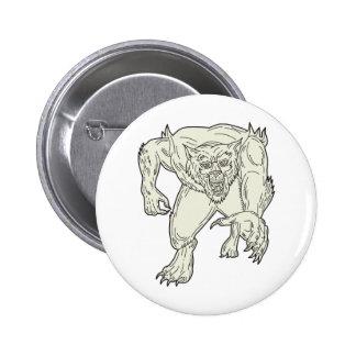 Werewolf Monster Running Mono Line Button