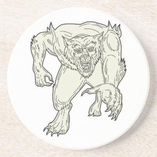 Werewolf Monster Running Mono Line Drink Coaster