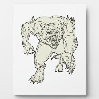 Werewolf Monster Running Mono Line Plaque
