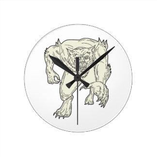 Werewolf Monster Running Mono Line Round Clock