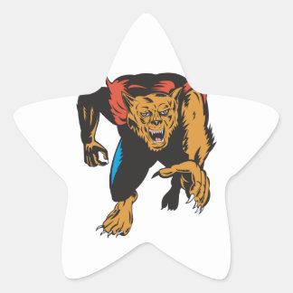 Werewolf Monster Star Sticker