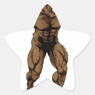 Werewolf or sports wolf mascot star sticker