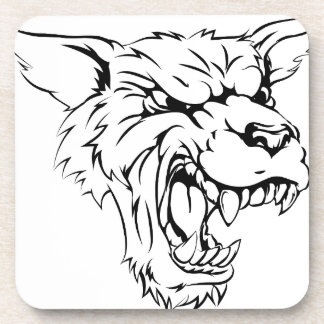 Werewolf or wolf character beverage coasters