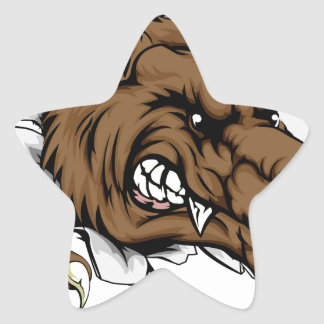 Werewolf or wolf clawing through star sticker