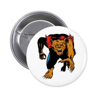 werewolf or wolfman attacking front 2 inch round button