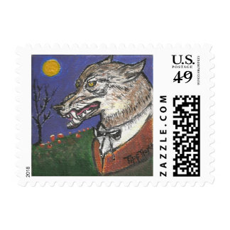 """Werewolf Postage Stamp """"All Howl-ow's Eve"""""""