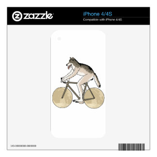 Werewolf Riding Bike With Full Moon Wheels Skins For The iPhone 4S