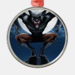 Werewolf Round Metal Christmas Ornament