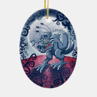 Werewolf Scratching Spooky Fleas Ceramic Ornament