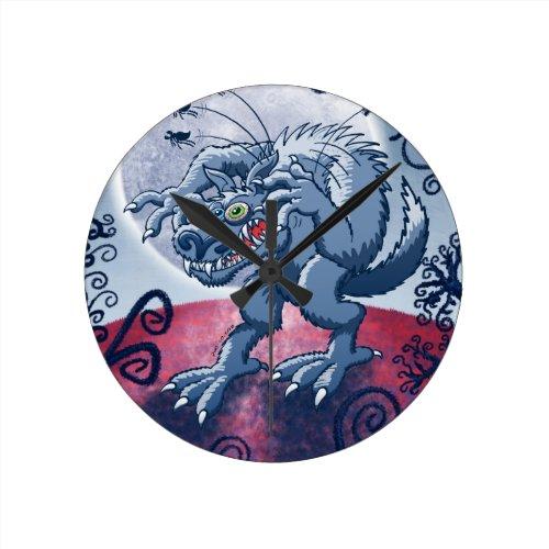Werewolf Scratching Spooky Fleas Clocks