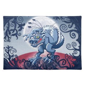 Werewolf Scratching Spooky Fleas Place Mats