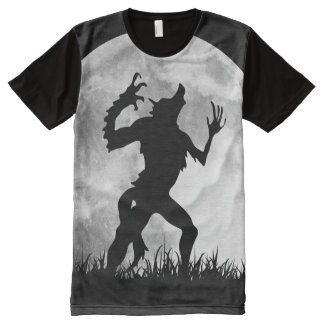 Werewolf with a Full Moon Cool and Funny Designed All-Over-Print Shirt