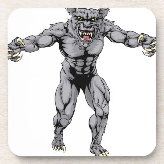Werewolf wolf scary sports mascot drink coaster