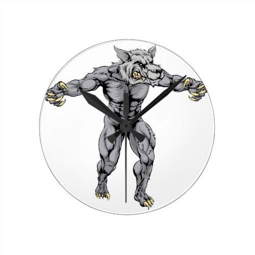 Werewolf wolf scary sports mascot round wall clock