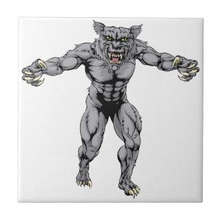 Werewolf wolf scary sports mascot tile