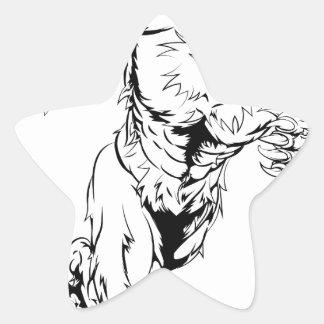 Werewolf wolf sports mascot running star sticker