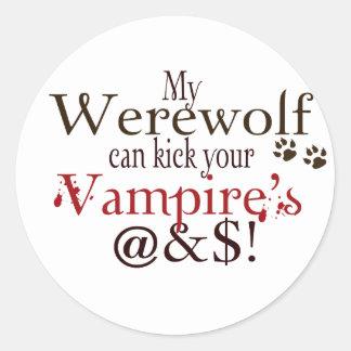 werewolf word art classic round sticker
