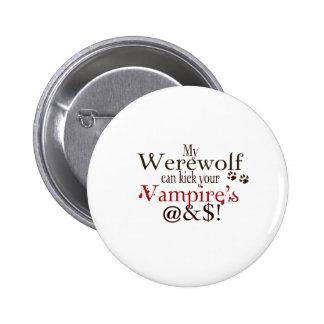 werewolf word art pinback button
