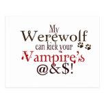 werewolf word art post card
