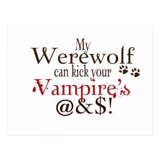 werewolf word art postcard