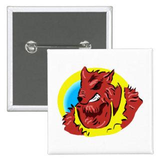 werewolf yellow shirt head graphic pinback buttons