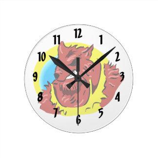 werewolf yellow shirt head graphic round wall clock