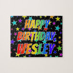 """[ Thumbnail: """"Wesley"""" First Name, Fun """"Happy Birthday"""" Jigsaw Puzzle ]"""