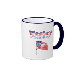 Wesley for Congress Patriotic American Flag Ringer Coffee Mug