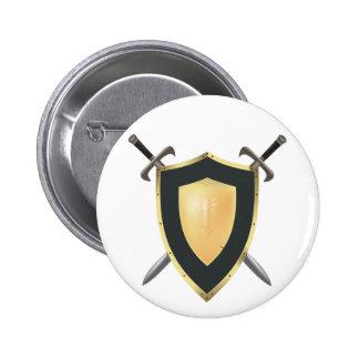 Wesnoth shield & crossed swords logo pinback button