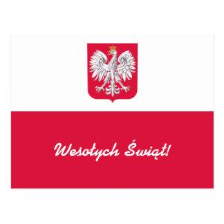 Wesołych Świąt Flaga Polski - Polish Flag Postcard